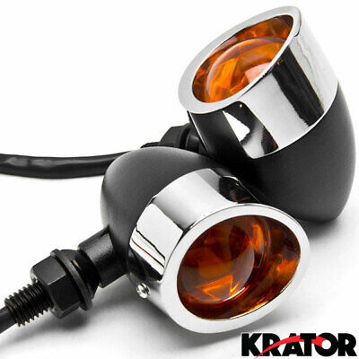 2pc Black / Chrome Heavy Duty Motorcycle Turn Signals Indicators Blinkers Lights