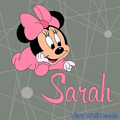 Minnie Mouse mit Name für Mädchen - Name und Farbe auf Wunsch - Wandaufkleber