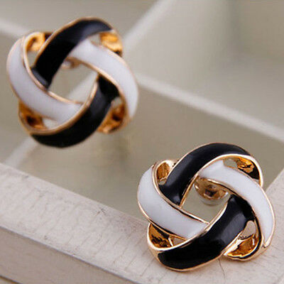 Women Girls Lady Black and White Rotating Hollow Earrings Ea