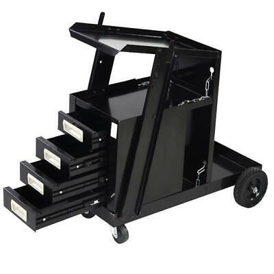 4 Drawers Portable Wheels Steel Welding Cart Black