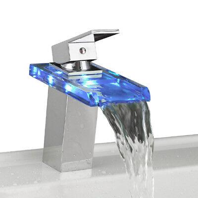 LED Cascada Grifo Agua Cristal Cuarto Baño Mezclador Monomando Grifería Lavabo