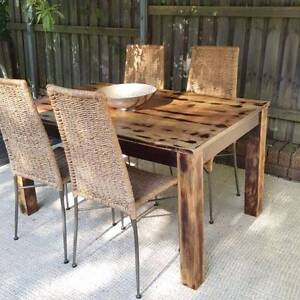 Distressed Mango Wood Dining Table & Four Chairs Coogee Eastern Suburbs Preview