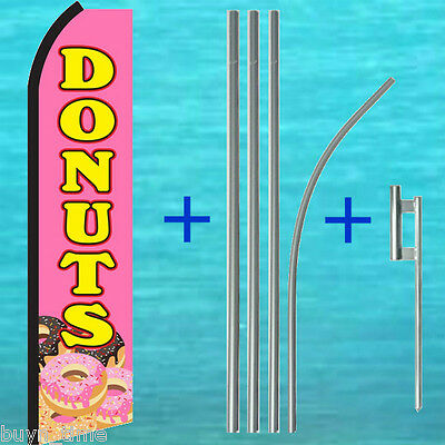 Donuts Pink Flutter Feather Flag 15 Tall Pole Mount Kit Swooper Bow Banner