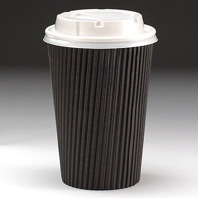 50  X Ripple Black 16oz Kraft Cup & Lids Insulated Tea Coffee Disposable Cups