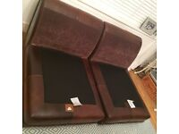 Brown leather modular sofa x two