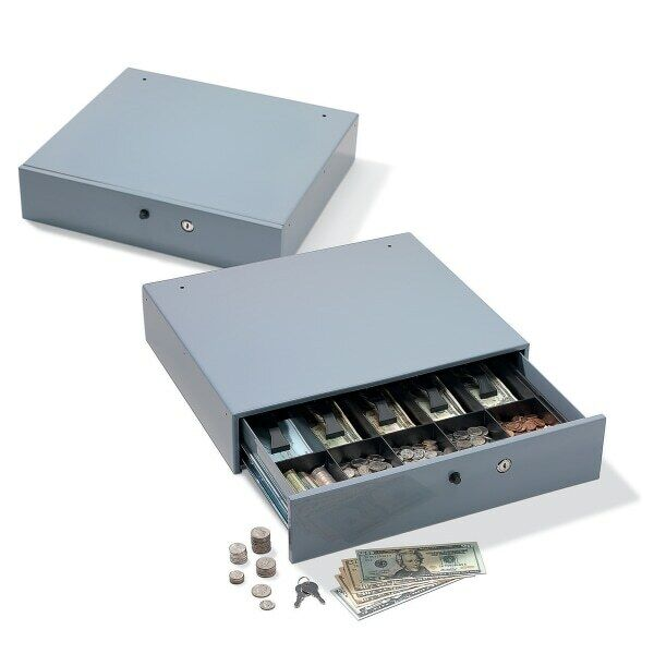 "Large-Capacity Manual Cash Drawer, 3 7/8""H x 17 3/4""W x 15 7/8""D, Gray"