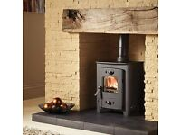 small 4kw modern multi fuel stove with flexible chimney liner kit 4 5 kw 3 kw slate hearths