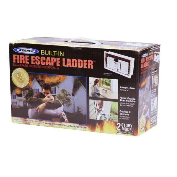 NewWerner ESC-220 2-Story Built-In Fire Escape Ladder w/12 Non-Slip Steps