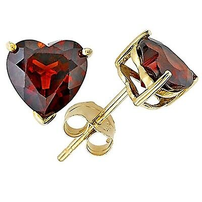 1.00 - 3.00 CARAT 14K YELLOW GOLD PLATED OVER SILVER HEART GARNET STUD EARRINGS 14k Garnet Heart Earrings