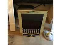 Nice electric fire + fire surround in white wood