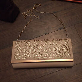 New look nude gold clutch bag