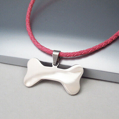 Custom Made Dog Tag Bones Dog Collar Pink Leather Silver Stainless Steel Clasp