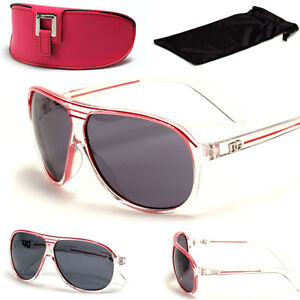 DG Kids Boy's Girl's Aviator Sunglasses Children Toddler's Clear/Pink w/Case