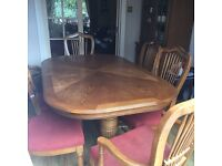 Dining room table and six high back chairs