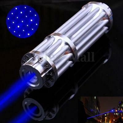 Blue Light Laser Pointer Pen 450nm Adjustable Beam Burning Match + 5mW Star cap