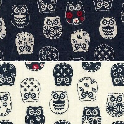 Sale 100% Japanese Cotton Patchwork Fabric Nutex Patterned Horned Owl Birds (Japanese Fabric Patterns)