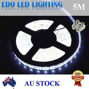 Waterproof-Cool-White-DC-12V-5M-5050-SMD-300-Leds-LED-Strip-Light-Car-Connector