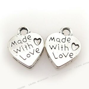 100x 140091 Antique silver Heart MADE WITH LOVE Charms Pendants Fit Necklaces