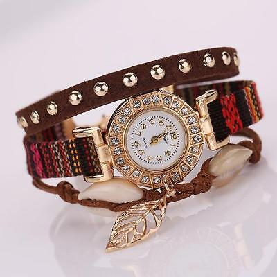 Womens Watches Stainless Steel Leather Strap Braided Bracelet Quartz Wrist Watch