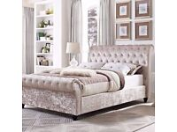 Chesterfield sleigh bed with mattress