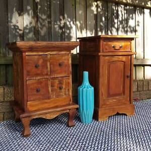 Mismatched Bedside Tables Solid Distressed Teak Coogee Eastern Suburbs Preview