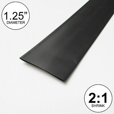 1.25 Id Black Heat Shrink Tube 21 Ratio 1-14 Wrap 10 Feet Inchftto 30mm