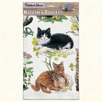 Fiddlers Elbow Kittens Towel (Fiddlers Elbow Kitchen Dish Tea Towel MIXED KITTENS,Cats Orange, Tabby 22x32)