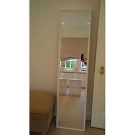 IKEA 'Stave' white wall mirror. 160cm x 40cm. Very good conditon.