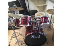 5 piece Pearl export drum kit with cowbell crash, ride and hihat with sticks + stick bag included