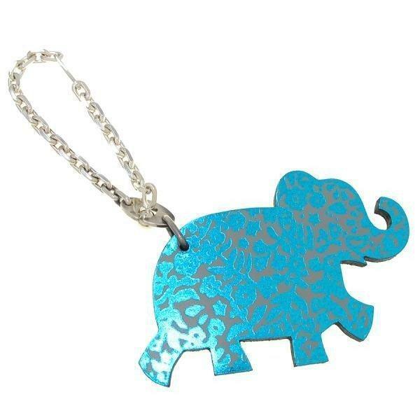 Auth HERMES Vintage Elephant Motif Leather Key Chain Holder Bag Charm Hermes