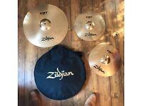 Zildjian ZBT high hats, ride and bag