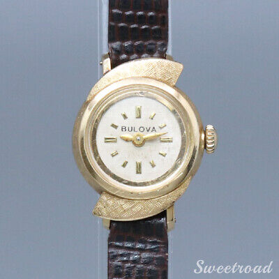 BULOVA 10KYG asymmetry case Ladies Ref. 2492 Cal. 5AR hand-made 1963 made e0328