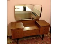 1960s retro vintage beautiful wood dressing table mirror draws unit furniture