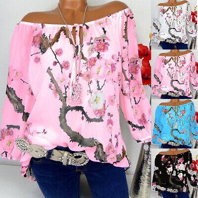 Womens Chiffon Floral Off Shoulder Tops Ladies Bardot Loose T Shirt Plus Size