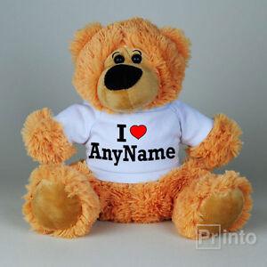 Personalised Teddy bear I LOVE ANY NAME toy, custom gift idea, Valentine's day