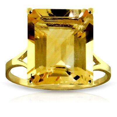 Genuine Citrine Emerald Cut Gemstone Solitaire Ring 14K Yellow, White, Rose Gold