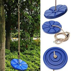 Swing Set Play DISC SWING Seat Tree Swing Disk Blue Garden Kids Children Toy New