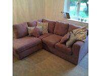 Lilac right hand corner sofa.