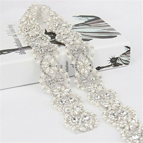 White Ribbon Sash Bridal Wedding Dress Rhinestone Beaded Crystal Belt Decor