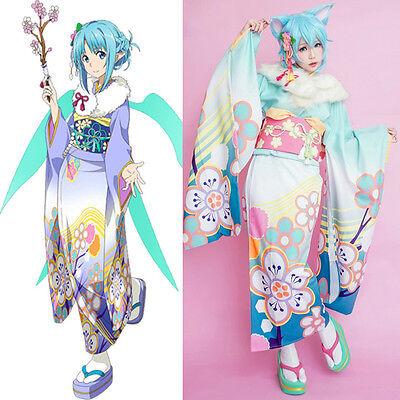 Sword Art Online Yuki Asuna Furisode Kimono Yukata Dress Kostüm Cosplay Costume