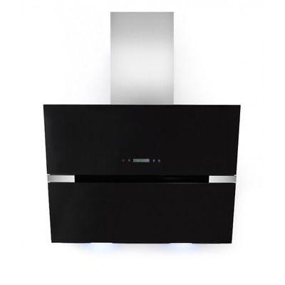 hotte DE cuisinière 60cm noir acier Inox-verre Dôme sans tête LED