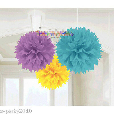 BABY SHOWER Woodland Welcome FLUFFY DECORATIONS (3) ~ Party Supplies Neutral (Baby Shower Neutral Decorations)