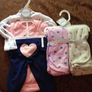 Brand  New! Carters 3 Piece Outfit & Swaddle Blankets
