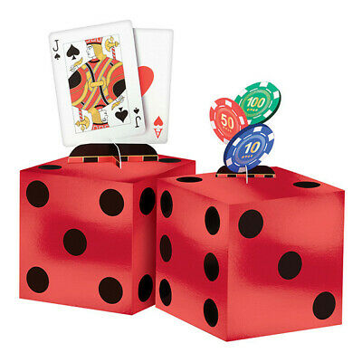 CASINO CENTERPIECE TABLE DECORATING KIT Party Room Decorations Poker Dice Cards - Dice Centerpieces