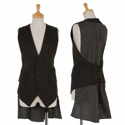 LIMI feu Wool Stripe Back Lace-up Vest Size S(K-51115)