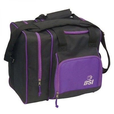 BSI Deluxe Single Bowling Ball Bag BLACK /Purple w Free Shipping in USA $30.95