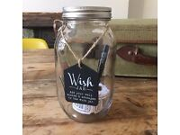 Wedding Day Wish Jar with tickets and pen