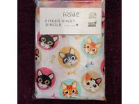 Cute Kids Single Fitted Sheet 100% Cotton