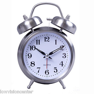 Old Fashion Loud Clock with Large Numbers, White Face & Black Numbers (Black Old Fashion Alarm Clock)