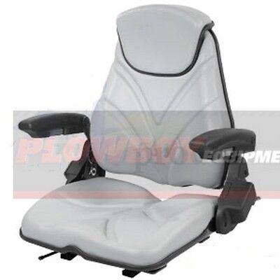 Gray Vinyl Seat For Skid Steer Loader Forklift Backhoe Tractor Zero Turn Mower